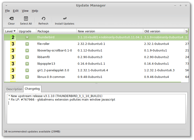 The Update Manager in Linux Mint 11