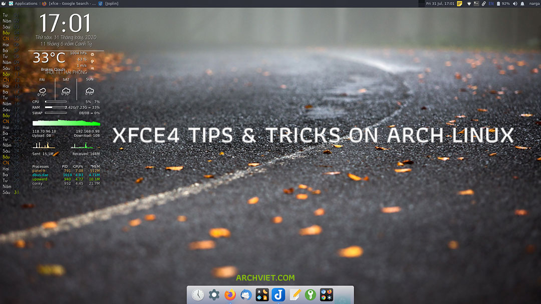 XFCE4 tips tricks on Arch Linux